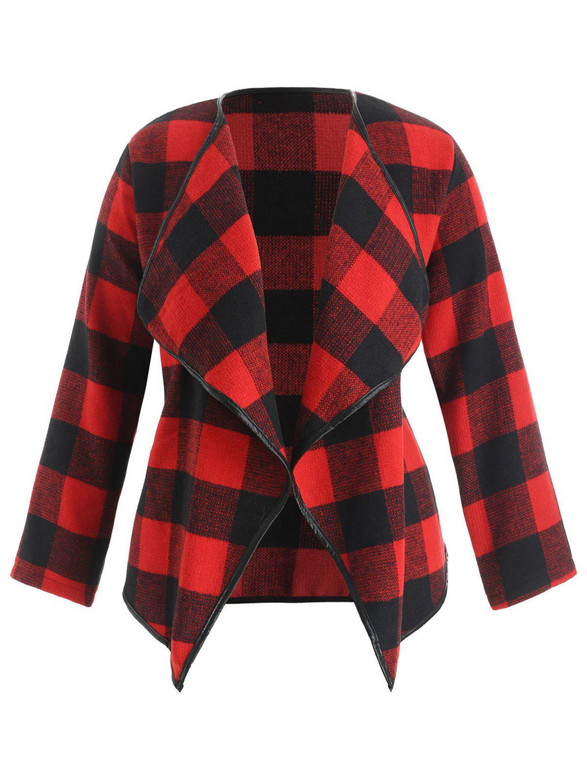 031e023dfff 2019 Plus Size Faux Leather Trim Tartan Jacket