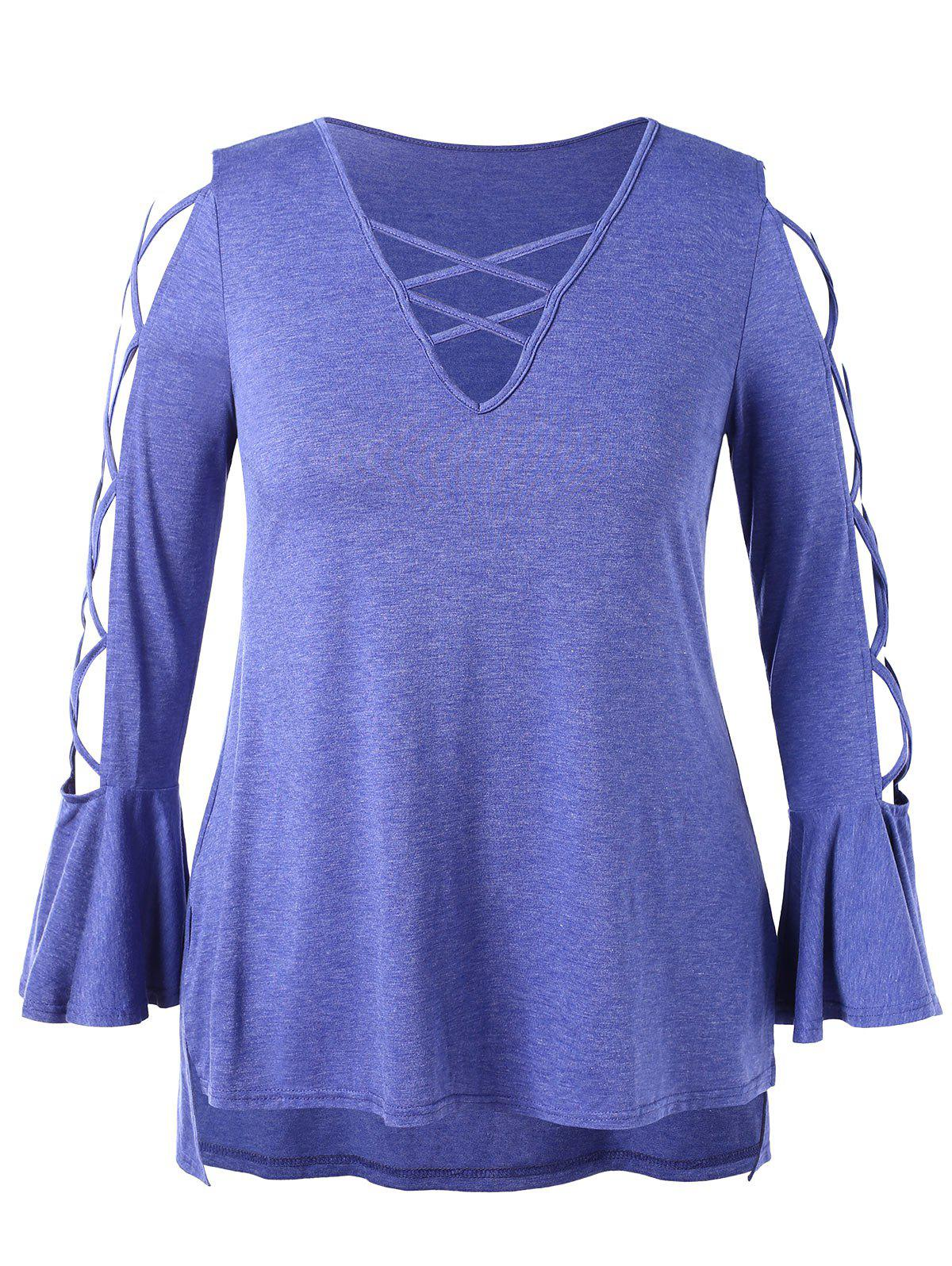 Latest Plus Size Criss Cross High Low Flare Sleeve T-shirt