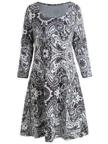 Ethnic Print Full Sleeve T-shirt Dress