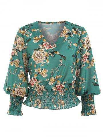 Floral Print Shirred Hem Blouse
