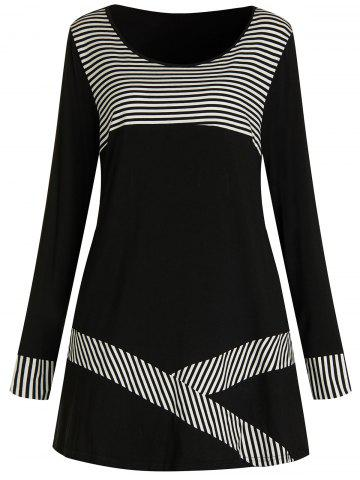 Plus Size Stripe Patchwork Long Sleeves T Shirt