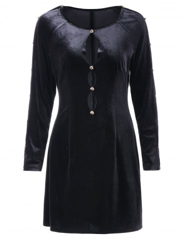 Cut Out Full Sleeve Velvet Dress
