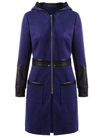 PU Leather Insert Zip Up Hooded Coat - DEEP BLUE - 2XL