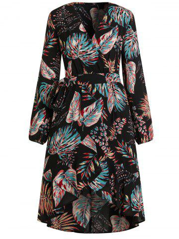 V Neck Tropical Print Midi Wrap Dress