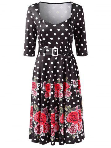 Polka Dot Floral Print Mid Calf Dress