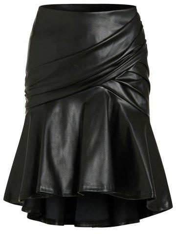 Ruched Flounce Mini PU Skirt