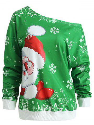 Christmas Santa Claus Print Skew Neck Sweatshirt - GREEN - M