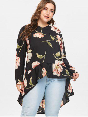 Floral Print Full Sleeve High Low Blouse
