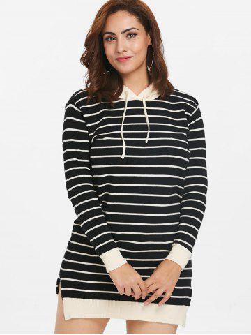 Plus Size Hooded Striped Sweater Dress