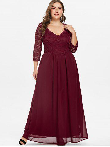 546129682a9 Sweetheart Neck Plus Size Lace Panel Maxi Dress