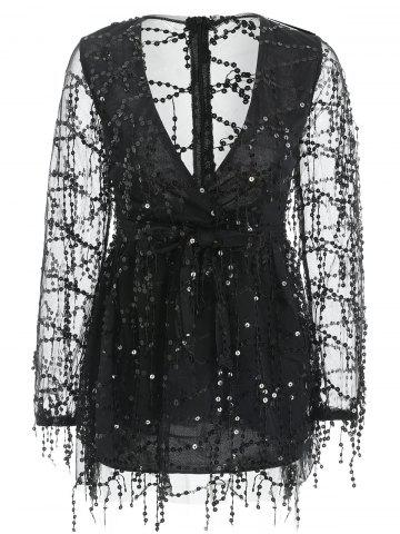 Plunge Neck Mesh Insert Sequin Dress