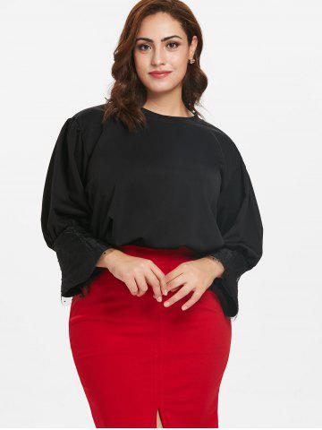 Lace Panel Plus Size Flare Sleeve Top