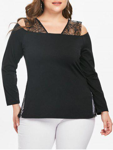 Halloween Cold Shoulder Plus Size Lace Panel T-shirt