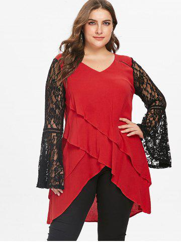 Plus Size Bell Sleeve Lace Panel Layered Top