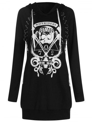 Skulls Letters Print Pullover Hoodie with Becket