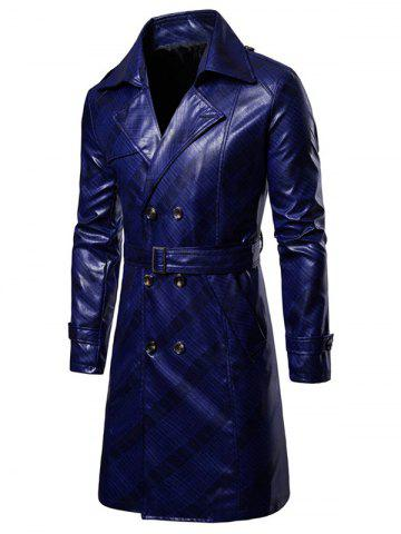 Double Breasted PU Leather Lapel Collar Coat