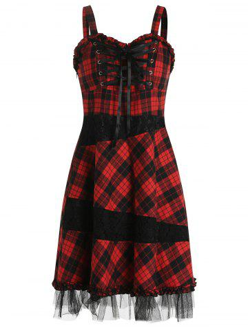 Lace Up Plaid Lace Patchwork Mini Strap Dress