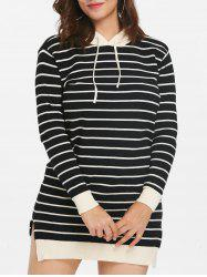 Plus Size Hooded Striped Sweater Dress -