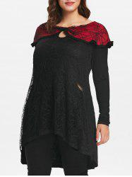 Plus Size Halloween Lace Panel High Low Top -
