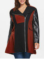 Two Tone Plus Size Zip Coat -