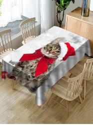 Christmas Cat Printed Table Decor Cover -