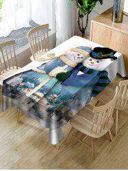 Snowman Couple Print Fabric Waterproof Tablecloth -