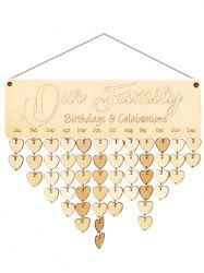 Wooden Our Family Calendar Reminder -