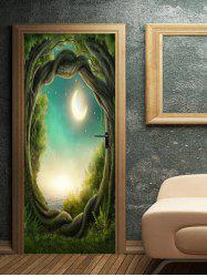 Moon Night Tree Hole Pattern Door Cover Stickers -