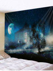 Wall Hanging Art Starry Night House Print Tapestry -