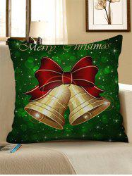 Merry Christmas Bells Print Decorative Linen Pillowcase -