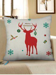 Christmas Elk Snowflake Print Decorative Linen Pillowcase -