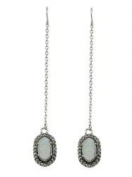 Oval Shape Artificial Gem Pendant Chain Earrings -