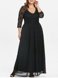 Sweetheart Neck Plus Size Lace Panel Maxi Dress -