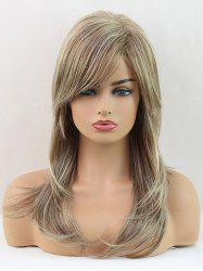Long Oblique Bang Colormix Layer Natural Straight Synthetic Wig -