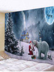 Wall Hanging Art Christmas Night Bear Print Tapestry -