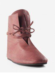 Plus Size PU Leather Warp Strappy Short Boots -
