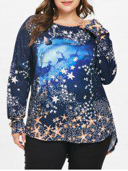 Christmas Plus Size Reindeer Dip Hem Top -