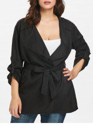 Turn Down Collar Plus Size Roll Tab Sleeve Coat -