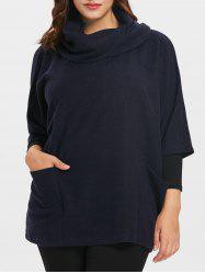 Cowl Neck Plus Size Half Sleeve Pullover Coat -