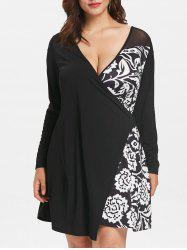 Plus Size Mesh Insert Print Surplice Dress -