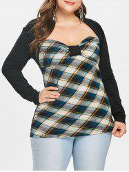 Bowknot Embellished Plus Size Plaid T-shirt -
