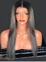 Center Parting Long Colormix Straight Synthetic Wig -