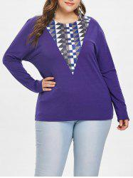 Geometric Pattern Panel Plus Size T-shirt -