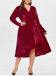 Full Sleeve Plus Size Velvet Wrap Dress -