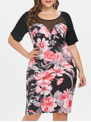 Plus Size Floral Mesh Insert Dress -