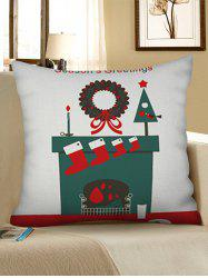Christmas Stocking Print Decorative Linen Pillowcase -