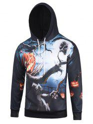 Pumpkin and Tree Print Halloween Hoodie -