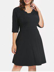 Plus Size Scalloped Trim Flared Dress -