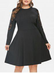 Plus Size Lace Inset Flare Dress -