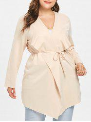 Draped Collar Plus Size Belted Coat -